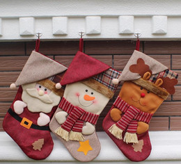 Wholesale 2016 High Quality Large Christmas Stocking Cartoon Christmas Decorations Santa Claus Snowman Moose Beer Red Chirdren Christmas Gift bag