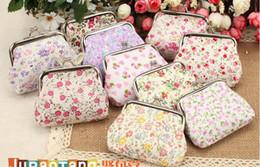 Monederos de las señoras regalos en venta-Mezclar colores monedero Mini monedero del cerrojo de lona florales clave titular de la cartera Pequeños regalos Bag Lady monedero