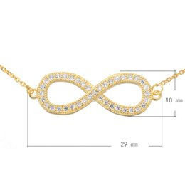 Cubic Zircon Micro Pave Brass Necklace With 1.5 lnch Extender Chain Infinity Plated Oval Chain More Colors For Choice 29x10mm Length:21Inch