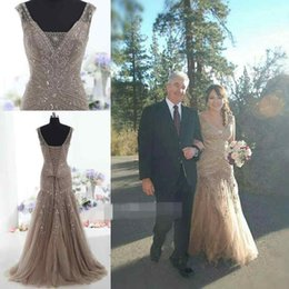 Wholesale Real Photo Vintage Mother Formal Evening Dresses V Neck Mermaid Beading Plus Size Lace Up Women Special Occasion Gown Custom Made Cheap