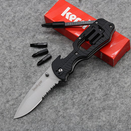 Wholesale 4 Screwdriver Knife KERSHAW Half Gear Serrated Tool Best Folding Knife CR13 HRC Rubber Handle Tactical Survival Knife