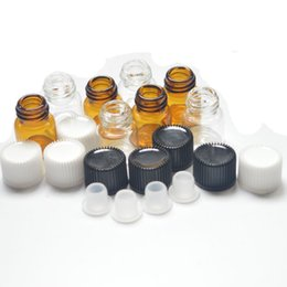 Wholesale 1 dram Small Clear Bottle Amber Mini Glass Vials Essential Oil Vial with Orifice Rducer Plug caps ml Perfume Sample Tubes Bottle