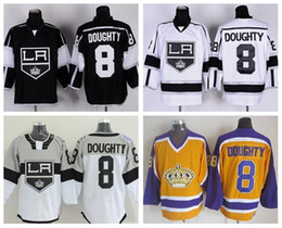 Wholesale LA Kings Drew Doughty Jersey Los Angeles Kings Ice Hockey Throwback Stadium Series Team Color Black White Yellow Embroider Best Quality