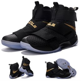 Wholesale With shoes Box Zoom Soldier Black Gold Championship Limited Edition Men Hot Sale Shoes LeBron