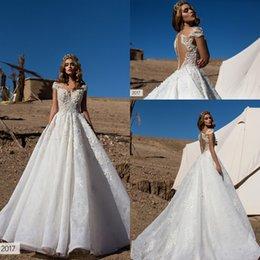 Wholesale Lorenzorossibridal Arabic Style A line Wedding Dresses Robe De Soiree Off Shoulders D floral Appliques Dubai Vintage Bridal Gowns