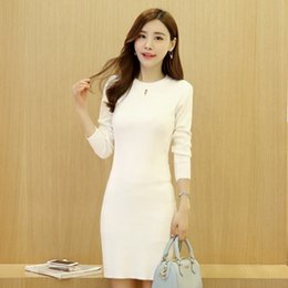 Wholesale Black Korean Fashion Slim Knitting Long Sweaters For Women White Sexy Hollow Out Long Sleeve Sweater Dresses Knitwear One Size