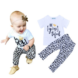 Wholesale Retail Brand Girls Clothing Set Summer Style Letter Pattern T shirt Leopard Pants Kids Sets High Quality Baby Girl Clothes Set