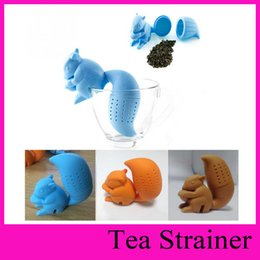 Wholesale Squirrel Tea Strainer Cartoon Squirrel Shaped Tea Filter Infuser Silicone Animal Cute Tea Strainers Cooking Tools Lovely Drinkware Gi