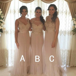 Elegant Lace Long Champagne Bridesmaid Dresses Tulle Floor Length Plus Size Evening Gowns Party Prom Dresses