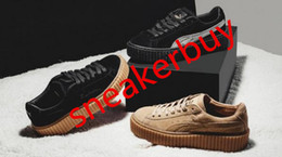 With Origrinal Box Rihanna x Suede Creeper Black Oatmeal Women Men running Shoes, Fashion Ladies Rihanna sport shoes sneakers