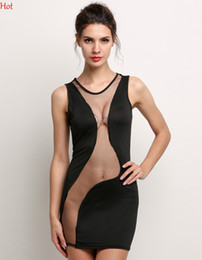 Wholesale Slim Summer Dress Sheath Mini Women Dresses Mesh Stitch Black Dress Hollow Backless Transparent Bodycon Club Party Dress Sexy EU000910