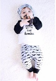 Wholesale Baby clothing sets years INS mustache Baby boy clothing T shirt long sleeve Pant set exported USA autumn spring