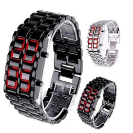 Wholesale Hot Sale Sport Men Women Watches Lava Iron Samurai Metal Watch Blue Red LED Faceless Bracelet Wristwatch Stainless Watches for man women