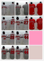 Wholesale 2016 Flexbase MLB Stitched Los Angeles Angels Blank Trout Carew Jackson White red Gray Throwback Baseball Jersey Mix Order