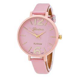 Wholesale 2016 Fashion Geneva Watch Ladies Women Leather Strap Women Casual Watches Quartz Watch Birthday Present Party Gift Student Watch