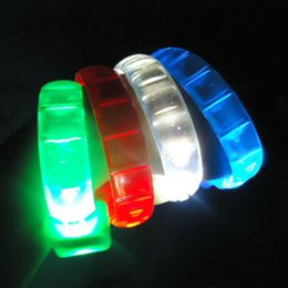 Wholesale Light Up Bracelets Free Shipping - LED Flash Bracelet Sound Controlled LED Light Up Bracelet Activated Glow Flash Bangle Halloween Decoration DHL Free Shipping