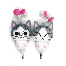 Wholesale Cartoon wired retractable earphones New cheese cat m cable for cell phone earphone cute automatic headset with retail package