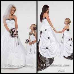 Halter A Line Camo Flower Girls Dresses Chapel Train Draped Formal Girls Party Gowns Handmade Flowers Adorned Toddler 2020 Wedding Dresses