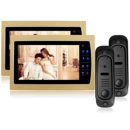 Systèmes d'interphone de portier vidéo à vendre-7 pouces LCD tactile couleur moniteur vidéo porte interphone Sonnette 2 caméra 2 moniteur RFID contrôle d'accès Home Security Entry System