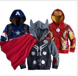 Wholesale 2016 Kds Cartoon Cosplay Jackets Children Winter Hoodies Sweatshirts Outerwear Superhero Coat Ironman Holk Captain America Avenger Boys
