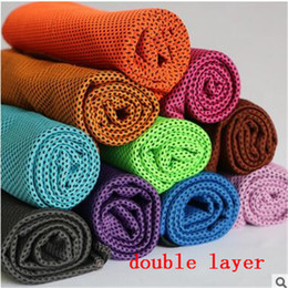 Wholesale 90 cm double layers ice Cold Towels summer Exercise Sports Ice Cool Towel Hypothermia Cooling Scarf Ties Neck Scarves multicolor