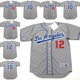 Wholesale Men GARY SHEFFIELD HIDEO NOMO JEFF KENT SHAWN GREEN Los Angeles Dodgers throwback Away Baseball Jersey stitched S XL