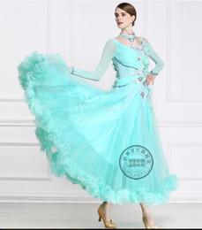 New arrival green long sleeve customize ballroom Waltz tango salsa Quick step competition dress