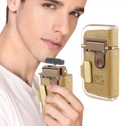 Wholesale 2 in KEMEI Electric Rechargeable Men Shaver Razor Vintage Leather Wrapped RSCW