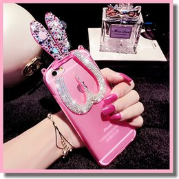 Wholesale Cute Pink Crystals - Glitter Bling Dazzling iPhone 6 Plus 6+ 5s 4s Cute 3D Crystal Foldable Bunny Ear Stand Bracket Shell Silicone Rabbit Rhinestone Diamond Case
