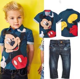 Acheter en ligne Bébé cowboy vêtements-Bébés filles de Noël 2016 New Summer Children'si Vêtements Boy Mickey Imprimé Shirt + Haute Qualité Le pantalon de cow-boy