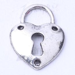 Heart lock pendant Antique silver bronze charms fit Necklace or Bracelets DIY alloy jewelry 200pcs lot 3187z