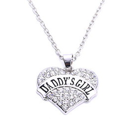 Wholesale Best Price High Quality rhodium plated zinc studded with sparkling crystals DADDY S GIRL heart pendant wheat link chain necklace