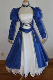 100%real photo royal blue h8525Fate zero Fate stay night saber cosplay medieval dress