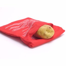 Wholesale-1PC NEW Red Oven Microwave Baked Red Potato Bag For Quick Fast( cook 4 potatoes at once ) In Just 4 Minutes Washed Potato Bags