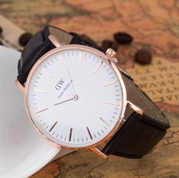 Wholesale Luxury Mens Brand Watches Casual Watches DW Imported Quartz Movement Genuine Leather Calendar High Quality Strap Drees Watches