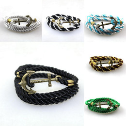 Charms Twisted Nylon Cord Wrap Bracelet Vintage Bronze Anchor Men Women Unisex Multilayers Wristband Rope Jewelry