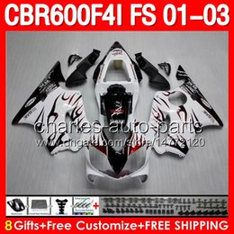 Wholesale 8gifts Red flames white For HONDA CBR600F4i CBR600 F4i C L448 CBR F4i CBR F4i Dark Red white Fairings