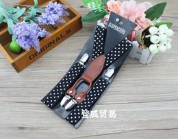 High Quality Children Baby 4 Clip Dots Printed Shoulder Belt Kids Leather Adjustable Suspenders Elastic Brace Boys Girls Pants Folder A3014
