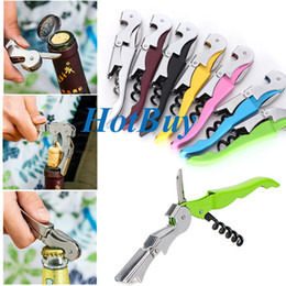 Wholesale High Quality Soft Velvet Touch Waiters Double Hinge Corkscrew Wine Key Bottle Opener With Plastic Handle