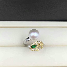 Adjustable size High Luster 9-10mm Freshwater Pearl Rings for women fashion pearl jewelry 925 sterling silver rings