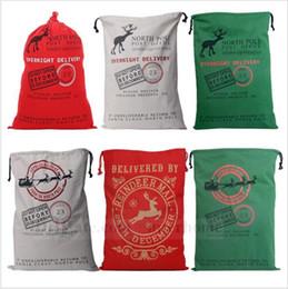 Wholesale Santa Claus Drawstring Bag Large Canvas Monogrammable Gift Bag Reindeers Christmas Gifts Sack Bags Storage Shopping Bag Tote New B667