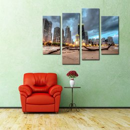 4 Picture Combination Chicago Trunk On Beach Near Modern Buildings Painting Pictures Print On Canvas City For Home Modern Decoration
