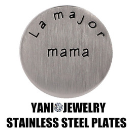 Fashion 22mm Round MAMA Words Stainless Steel Window Plate Floating Locket Charm For Glass Living Memory Locket