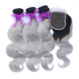 Cheap 3pcs ombre hair bundles with closure ombre silver body wave brazilian grey hair weaving 1b gray two tone hair for black women