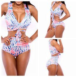 Wholesale New Fashion Women Printing Bikini divide Split bandage overlapping Swimming suit Sexy swimsuit High waist bikini Bikini