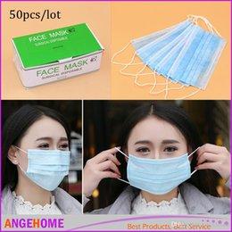 Armadura usada en Línea-50pcs / lot Mascarilla no tejida médica a prueba de polvo desechable de la máscara de cara de la máscara de la cara Un uso del tiempo Anti gérmenes de polvo no tejidos Mascarillas