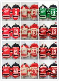 Stitched Detroit Red Wings Hoody #9 Howe 13 Datsyuk 19 Yzerman Zetterberg Hockey Kids and men Red Cream Green Jerseys Ice Jersey ,Mix Order