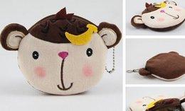 Wholesale 6PCS Kawaii Banana Monkeys Plush Lady s Coin Purse Wallet Pouch Case BAG Pendant Bags Pouch Beauty Holder BAG Women Handbag
