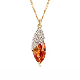 Wholesale Brand Cason Hot Selling Women Jewelry Gold Plated Corn shaped champagne Crystal Pendant Necklaces Coffee Colour Drop Shipping