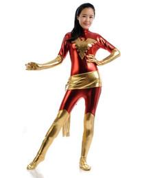 Women suit red gold color Metallic Unisex Lycra Shiny X-Men Jean Dark Phoenix Zentai Bodysuit Catsuit